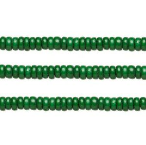 Wood Rondelle Beads Dark Green 8x4mm 16 Inch Strand