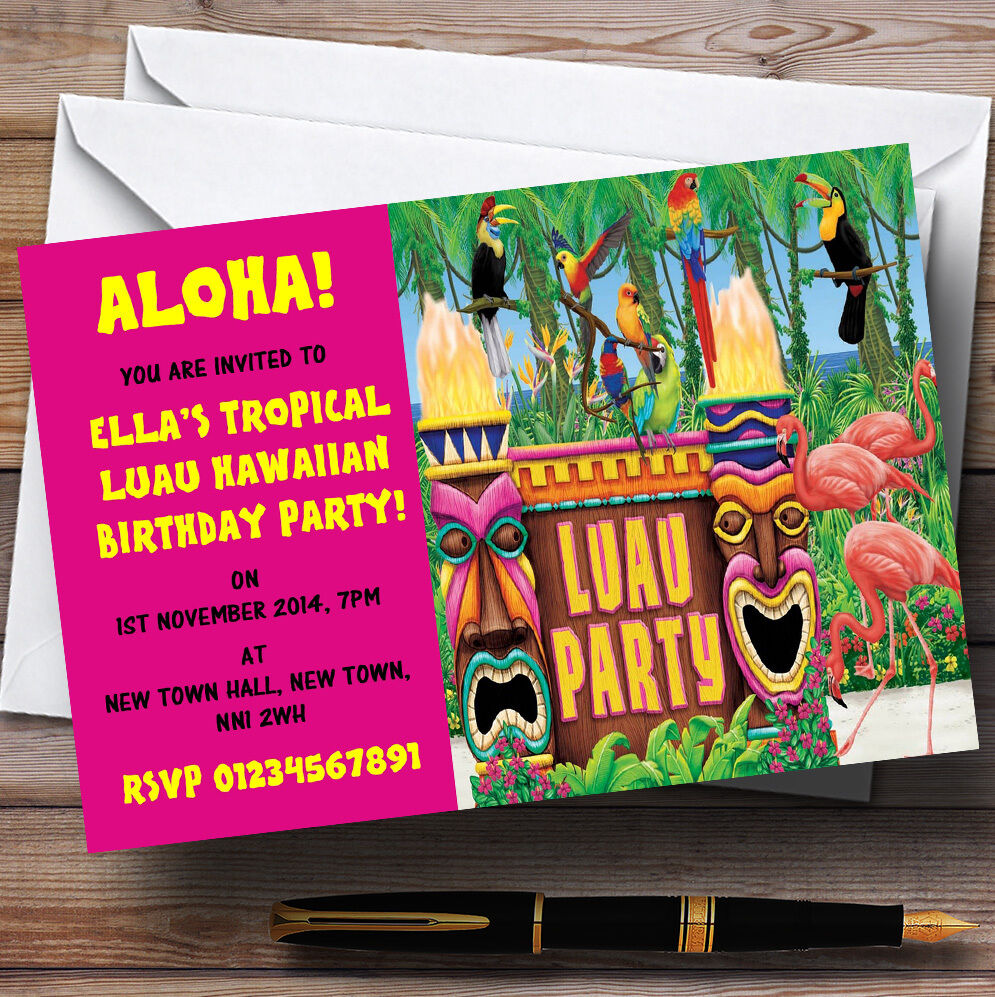 Rosa Hawaiian Tropical Luau Personalised Invitations Party Cb97b7