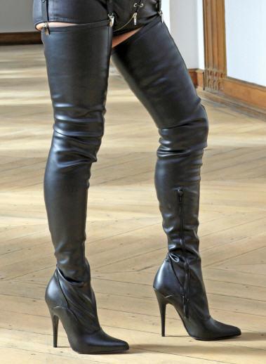High-heels Crojoch-botas, extra largo, stretchkunstleder, negro, negro, negro,  servicio de primera clase