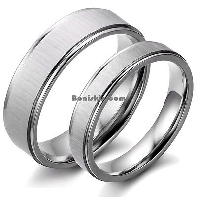 Couples Brushed Stainless Steel Men Ladies Wedding Band Engagement Promise Ring