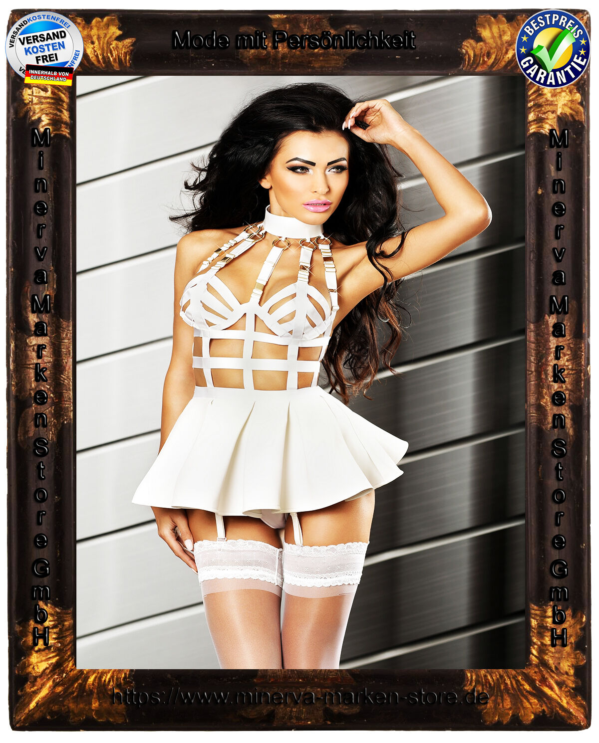 Frivoles weißes Straps-Kleid Lolitta Minikleid Swinger GoGo Strapse Sexy Club
