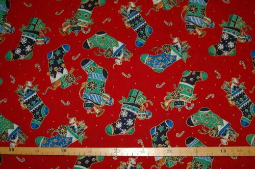 0,3 m Weihnachtsstoff Nikolausstiefel rot 1,4m breit Patchworkstoff €14//m²