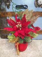 Red Gold Poinsettia Holly Berry Lime Mercury Glass Bucket Christmas Arrangement