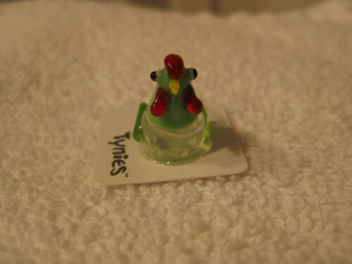 AMY Chicken GREEN TYNIES Tiny Glass Figure Figurines Collectibles 0082 NEW