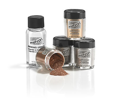 Metallic Powder & Mixing Liquid body face costume theatrical makeup FX Mehron TV