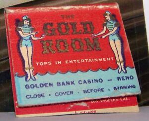 Rare-Vintage-Matchbook-Cover-B6-Reno-Nevada-Gold-Room-Girls-Females-Sexy-Casino