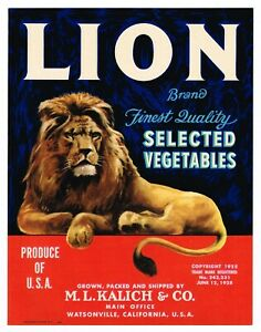 ORIGINAL 1943 VEGETABLE CRATE LABEL LION BRAND WATSONVILLE CALIFORNIA KING