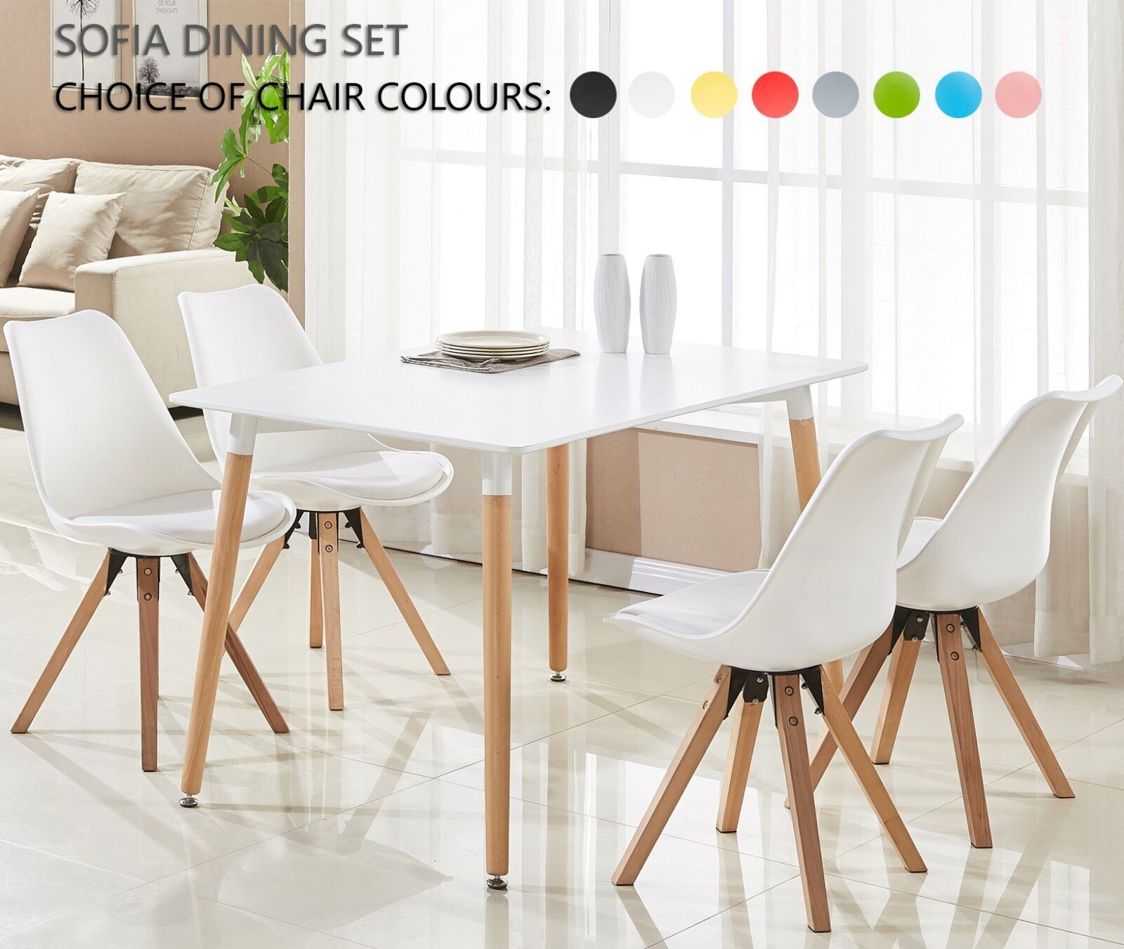 Swell Details About Sofia Dining Set 4 X Sofia Padded Dining Chairs White Halo Dining Table Pabps2019 Chair Design Images Pabps2019Com