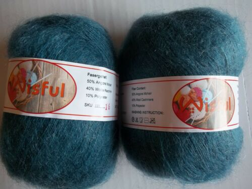 Wisful  mohair//wool blend yarn 455 yds ea country blue #16 lot of 2