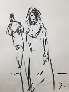 JOSE-TRUJILLO-Original-Charcoal-on-Paper-Sketch-Drawing-18X24-Dress-Model-FIGURE