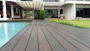 Details zu 40 m² Bambus Komplettset + Alu-Unterkonstruktion Dunkel  Terrassendielen Holz
