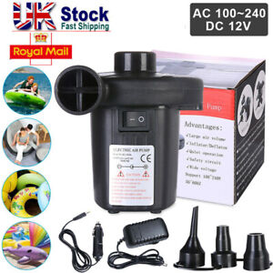 Portable BATTERY ELECTRIC AIR PUMP INFLATABLE BED AIRBED BLOW UP FOOT AIRPUMP UK