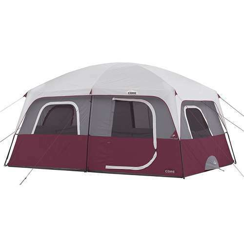 huge selection of 2565e 58902 CORE Outdoor Straight Wall Family Camping 10-Person Cabin Tent, Red (Open  Box)