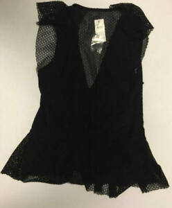 Joie Women's Black V-Neck Sleeveless Ruffle Mesh Top Size Small S