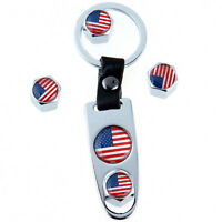 4pc Car Wheel Tire Valve Air Dust Caps United State National Flag +keychain