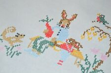 BUNNY FATHER & SON PREP FOR EASTER! VTG GERMAN HAND EMB TABLECLOTH SQUIRREL BIRD