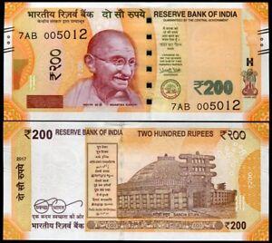 INDIA-200-RUPEES-2017-P-NEW-DENOMINATION-amp-COLOR-UNC