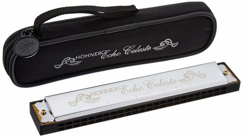 $7 OFF SALE Hohner Echo Celeste Tremolo Harmonica in F# With Zippered Case