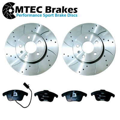 Front Brake Discs Drilled Grooved Mtec Gold Edition VW Touareg 2.5 Tdi 03