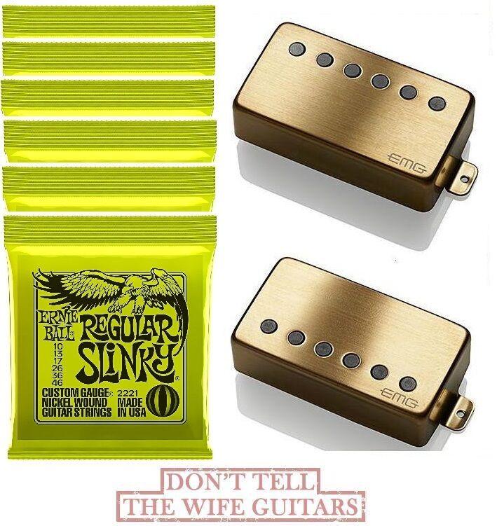 EMG 57 + 66 BRUSHED GOLD Set Standard Spaced Short Pots ( 6 ERNIE BALL  2221 )