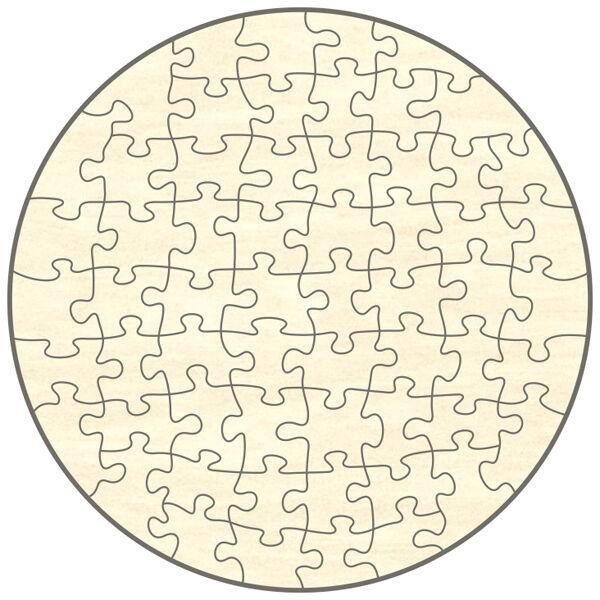 Blanko Holz-Puzzle Kreis, 60 Teile, 58x58 cm, zum Selbst Bemalen und Gestalten