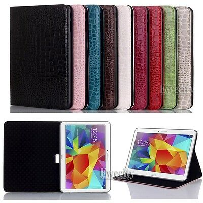 NEW Crocodile PU Leather Stand Case Cover For Samsung Galaxy Tab 4 10.1 SM T530