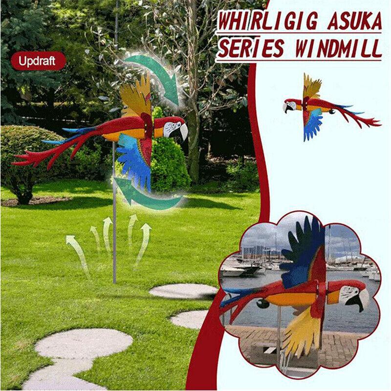 Garden Decoration Flying Bird Series Windmill Flying Parrot Whirligig Decoration