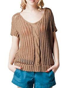 0dfea4fdfe Kookai Women s Openwork Cable-Knit Jumper Sandalwood Size T0 (6 8 ...