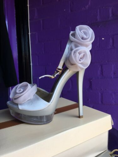 Rose Holiday 5 Size Argento Silver Strap Ankle Bnwb Cruise Sandals Wedding w4TqP5