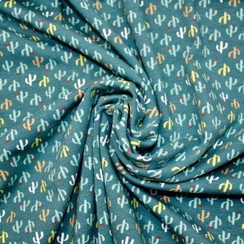 100/% Tela De Algodón Niños Quilting Arriba y abajo Cactus Verde Azulado Jersey
