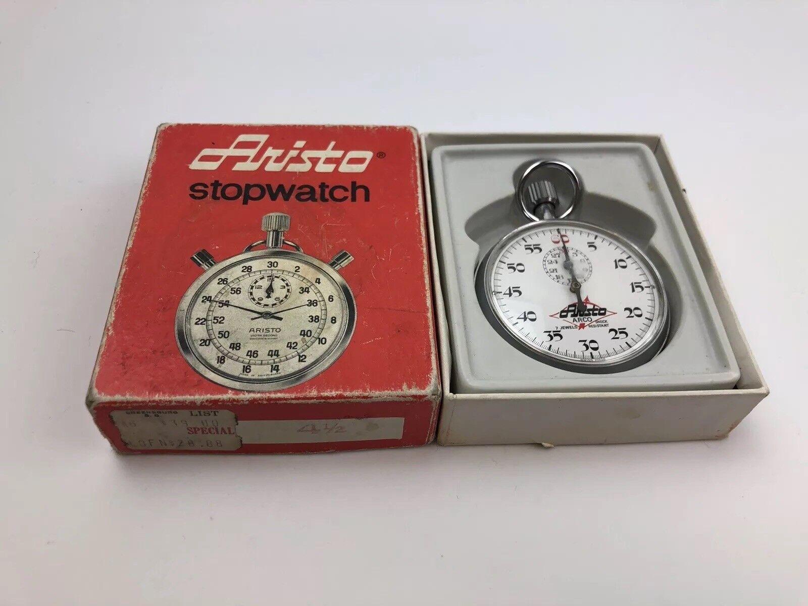 Vintage Aristo Stop Watch 7 Jewels W  Original Box And Price Tag