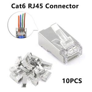 Cable Ethernet Connector 8P8C Cat6 Modular Head Plug Gold-plated Cat 6 Crimp Net