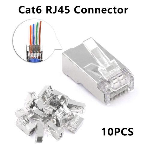 Ethernet Cable Modular Connectors Gold Plated Cat6 RJ45 Crimp Network Head Plugs