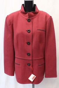 Roberto-Quaglia-Women-039-s-Wool-Button-Front-Jacket-MC7-Red-Size-US-18-EUR-48-NWT