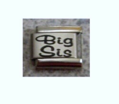 9mm Classic Size Italian Charm L3   Sister Big Sis Fits Classic Size Bracelet