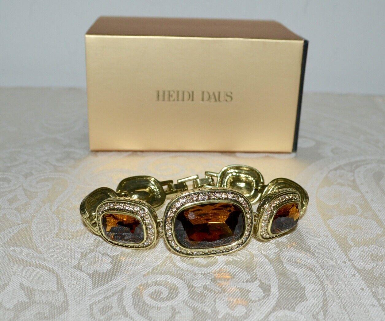 New  190 HEIDI DAUS Exquisite Elegance Crystal Bracelet Topaz