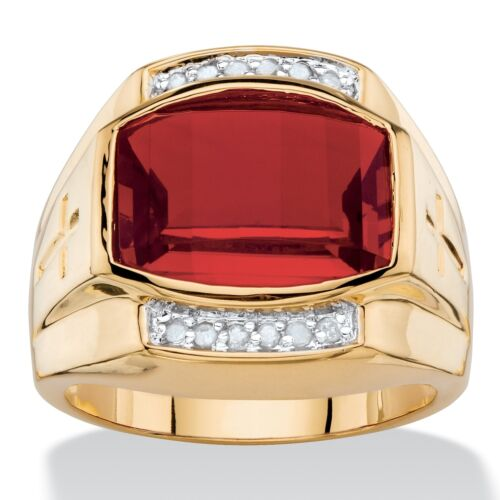RED RUBY MENS 18K GOLD DIAMOND ACCENT GP CROSS  RING 8 9 10 11 12 13 14 15  16