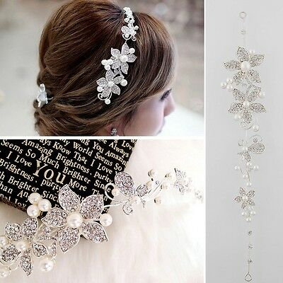 Sweet Beautiful Rhinestone Pearl Flower Wedding Bridal Headband Hair Band Tiara