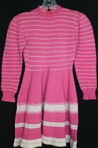 VERY RARE FRENCH 1950'S CHILD'S PINK AND WHITE COTTON KNIT DRESS SIZE 4T
