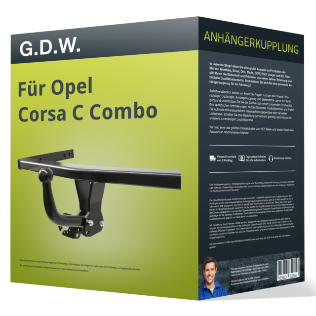 Starre Anhängerkupplung OPEL Corsa C Combo 11.01-01.12 G.D.W. NEU GDW inkl. EBA