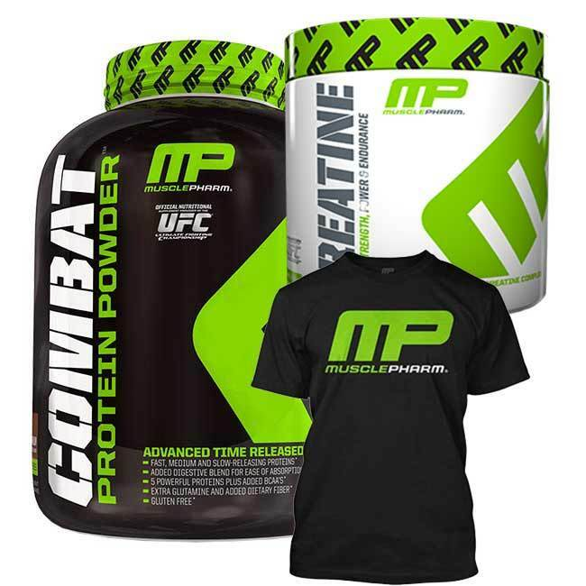 MusclePharm Combat Protein Powder 1814g + MusclePharm + Creatine + T-Shirt