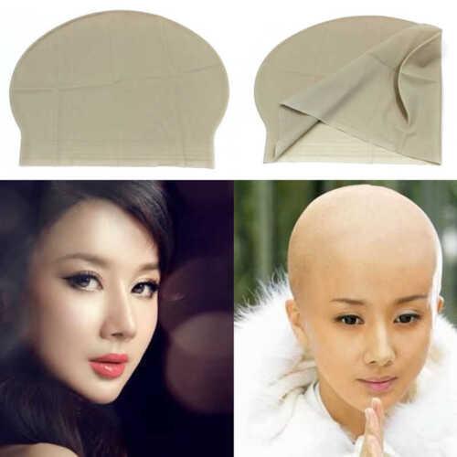 Ladies Fancy Dress Wig Skull Cap Fake Bald Head Skinhead Baldy Clown Mens