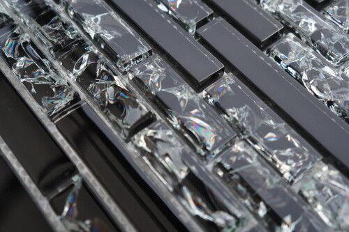 Glasmosaik Fliesen Schwarz Crush Crystal Glänzend 30x30 gebrochenes Matte M530