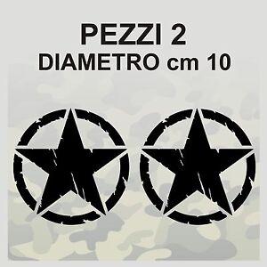 2-Adesivi-Stella-Militare-cm-10x10-US-ARMY-Jeep-renegade-Suzuki-fuoristrada-4X4