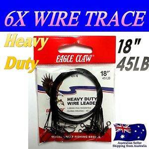 6X-EAGLE-CLAW-45LB-20KG-18-034-45cm-316-STAINLESS-STEEL-FISHING-WIRE-TRACE