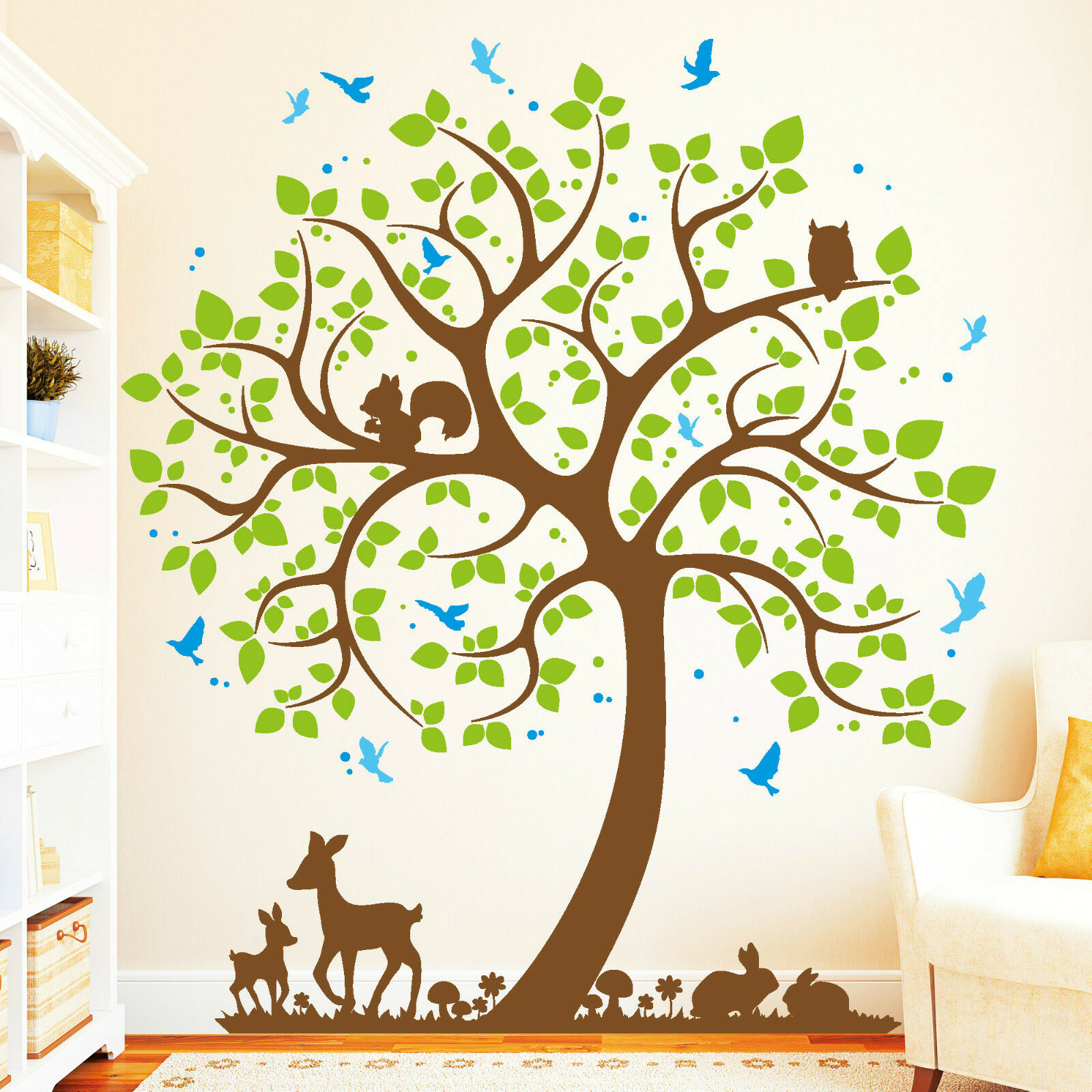 Wandtattoo Loft Baum Hase Rehkitz Vogel (4farbig)   Wandaufkleber Owl Uhu 10977