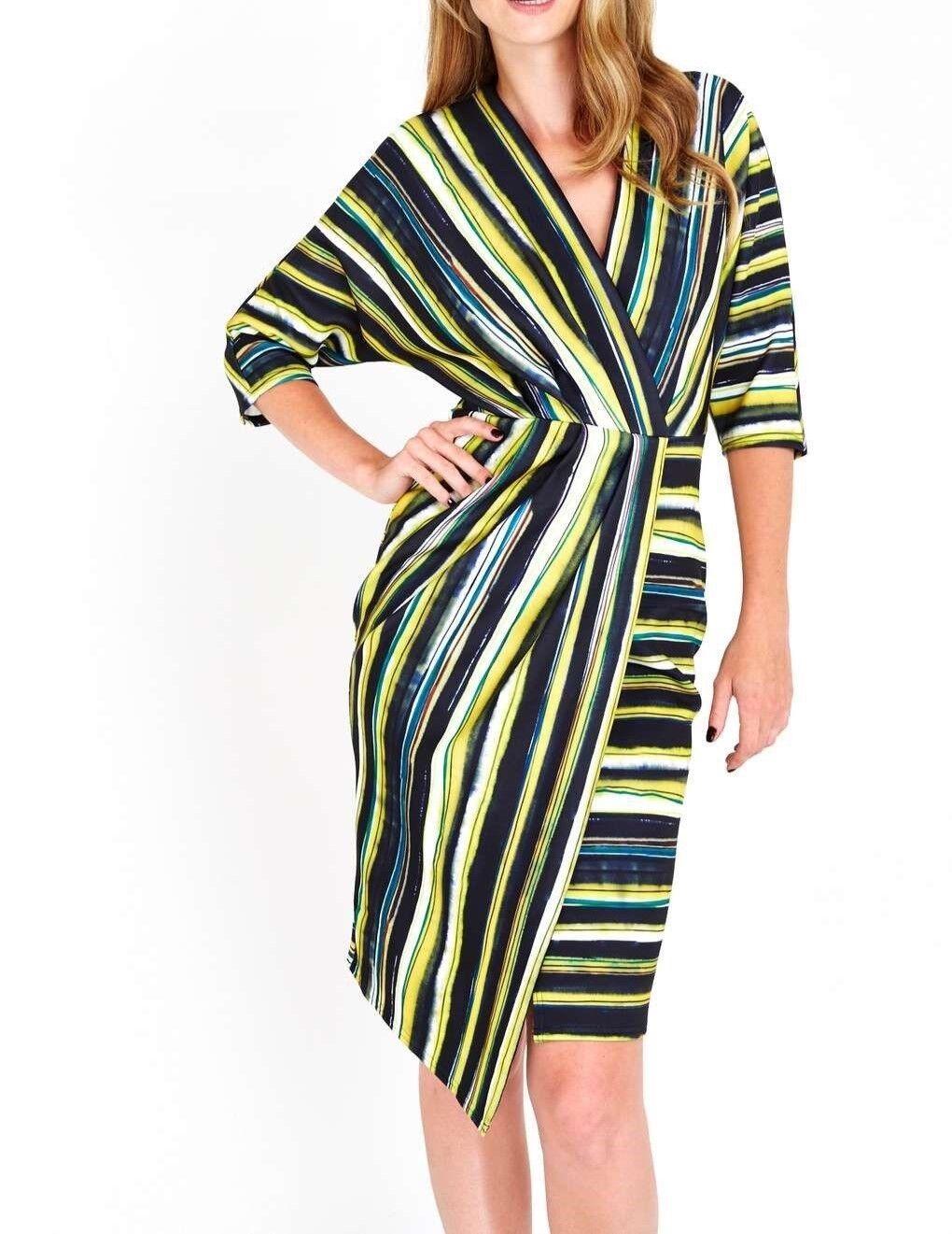 Closet Multi Stripe Wrap Scuba Dress 10