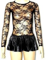 SEXY WOMEN LADIES BLACK FLORAL LACE SKIRT LONG SLEEVE DRESS TOP SIZE XS,S,M