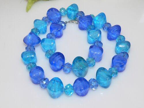 Vidrio collar Murano tipo Lampwork almohada Rondelle facetada azul turquesa 202y
