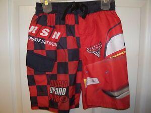 Disney Cars Red Black Swim Suit Trunks Shorts Boys Size 4 / 5 NWT #167